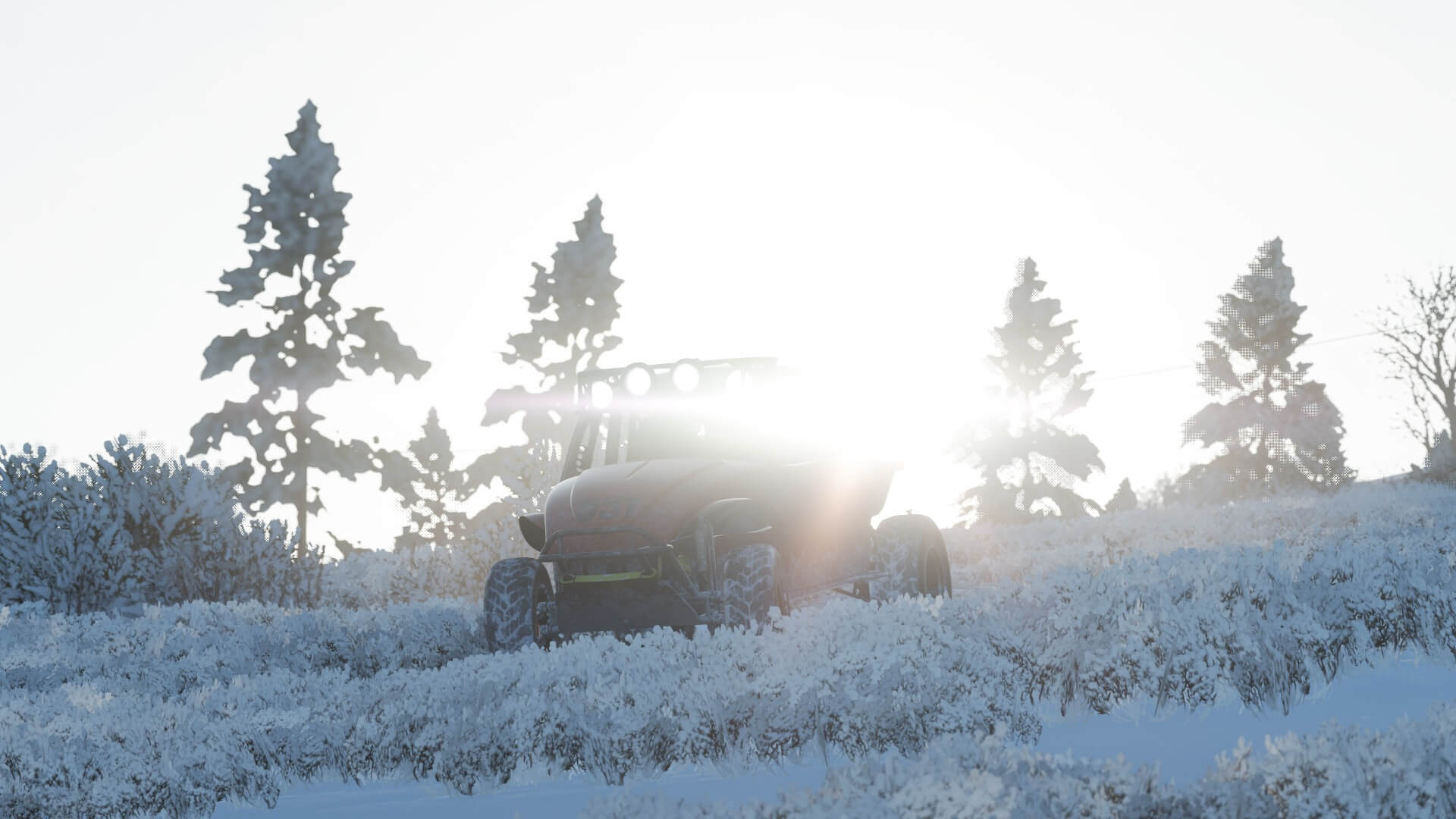 Image from Forza Horizon 4 of a buggy in snow with the sun behind it